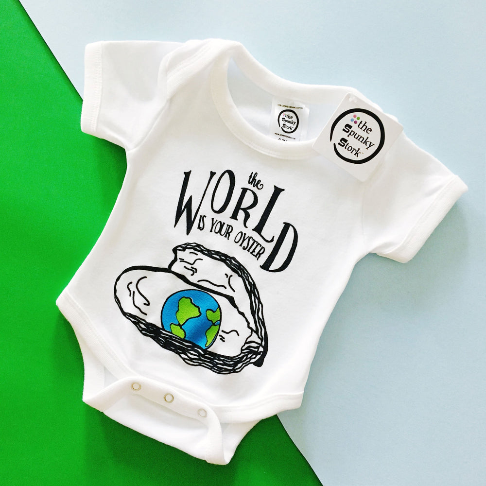 the world is your oyster world map globe pearl organic cotton baby onesie toddler shirt