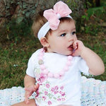 pretty pink & green wild flower organic cotton baby girl onesie