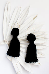 becky pollard, seven sixteen, tassel earrings, black tassels, black tassel earrings, boho jewelry, boho earrings, statement earrings, lightweight earrings, tassel earrings