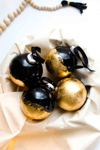 becky pollard, seven sixteen, modern ornament, unique ornament, cool ornament, handmade ornament, gold leaf ornament, black and gold ornament, black ornament, black and gold