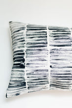 Load image into Gallery viewer, blue throw pillow, blue accent pillow, block printing, block print stripe, striped pillow, modern stripe, modern stripe pillow, lumbar pillow, accent pillow, throw pillow, navy and white pillow, seven sixteen, becky pollard, navy pillow, navy throw pillow, textured pillow