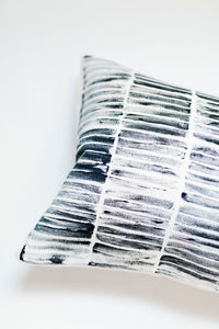 blue throw pillow, blue accent pillow, block printing, block print stripe, striped pillow, modern stripe, modern stripe pillow, lumbar pillow, accent pillow, throw pillow, navy and white pillow, seven sixteen, becky pollard, navy pillow, navy throw pillow, textured pillow