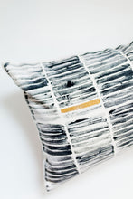 Load image into Gallery viewer, block printing, block print stripe, striped pillow, modern stripe, modern stripe pillow, metallic pillow, navy and gold pillow, seven sixteen, becky pollard