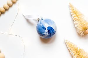 becky pollard, seven sixteen, modern ornament, unique ornament, cool ornament, handmade ornament, marbled ornament, blue and white ornament, blue ornament, blue marble