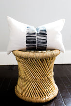 Load image into Gallery viewer, block printing, block print stripe, striped pillow, modern stripe, modern stripe pillow, lumbar pillow, accent pillow, throw pillow, navy and white pillow, seven sixteen, becky pollard
