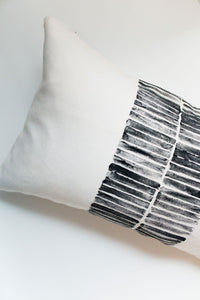 block printing, block print stripe, striped pillow, modern stripe, modern stripe pillow, lumbar pillow, accent pillow, throw pillow, navy and white pillow, seven sixteen, becky pollard