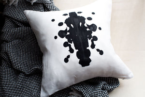 rorschach, seven sixteen, becky pollard, ink blot, ink blot pillow, graphic pillow, black and white pillow, modern pillow, contemporary pillow