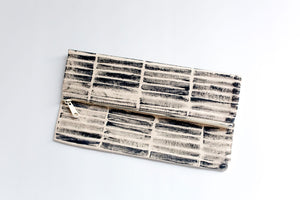 Striped Zippered Clutch, Large