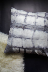 becky pollard, seven sixteen, hand dyed pillow, boho pillow, tribal pillow, shibori, shibori pillow, gray throw pillow