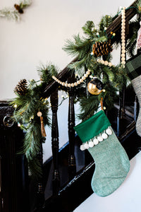 Wood Bead Garland with Leather Tassels
