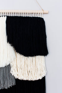 black and white art, black and white weaving, black and white wallhanging, graphic art, 3d wall art, black and white 3d art, scallop, scalloped edge, color blocking, color blocking weaving, color blocked weaving, color blocking wall hanging, color blocked wall hanging, fringe, scalloped fringe, fringe wallhanging, home vignette, neutral home decor, neutral wall art, becky pollard, seven sixteen, whitney, whitney wallhanging