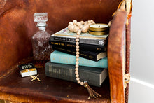 Load image into Gallery viewer, becky pollard, seven sixteen, wooden garland, wood bead garland, coffee table beads, decorative beads, leather, leather tassel, coffee table accessory, home styling, styled home