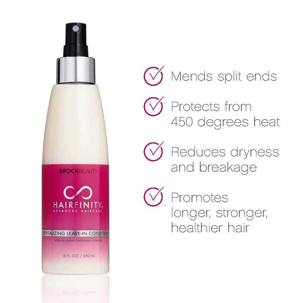 Hairfinity Revitalizing Leave-In Conditioner – Treatment for Dry and Damaged Hair and Scalp - Mends Split Ends and Protects from 450 Degrees Heat with Quinoa, Jojoba Oil, and Biotin 8 oz