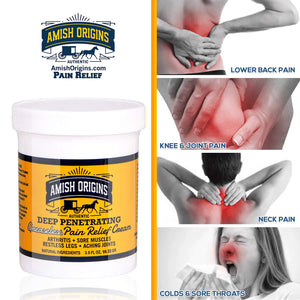 Amish Origins Deep Penetrating Pain Relief Cream for Arthritis, Colds, Sore Throats, Restless Legs, Aching Joints - Greaseless 3.5 Ounce Pack of 2