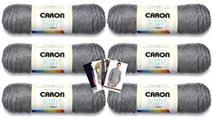 Caron Simply Soft Yarn - 6 Pack with Patterns (Gray Heather)