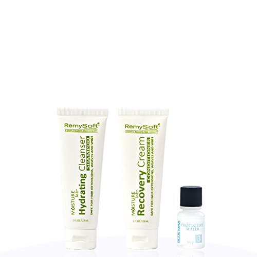 RemySoft Moisturelab Travel Set - Safe for Hair Extensions, Weaves and Wigs - Salon Formula Shampoo, Conditioner & Serum - Gentle Sulfate-free Lather