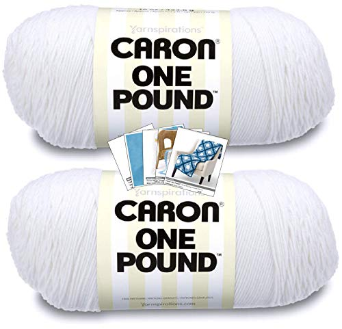 Caron One Pound Yarn - 2 Pack with Patterns (White)