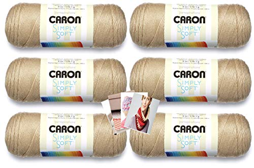 Caron Simply Soft Yarn - 6 Pack with Patterns (Bone)