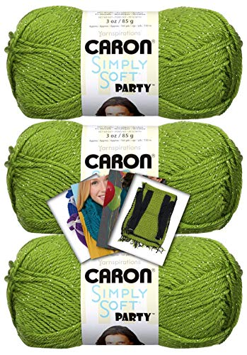 Caron Simply Soft Party Yarn - 3 Pack with Patterns (Spring Sparkle)
