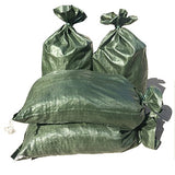 "Intock Sandbags | Military Grade Empty Dark Green Woven Polypropylene Heavy Duty Sand Bags | with Strong Drawstring Closure Ties | 4000 Hrs of UV Protection | 14"" x 26"" Size 