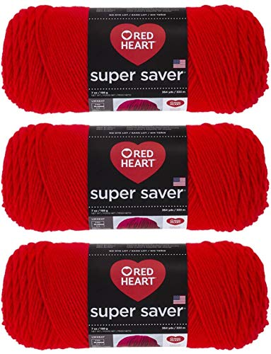 Red Heart Super Saver Yarn (3-Pack) Hot Red E300-390