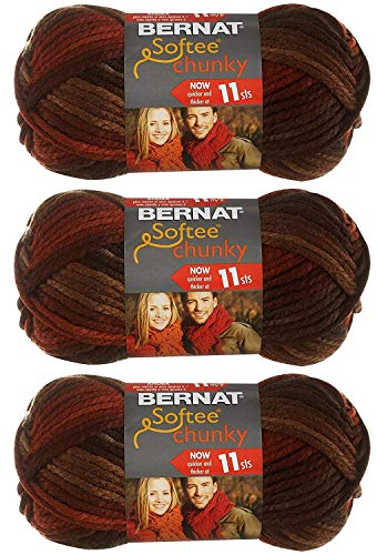 BERNAT Softee Chunky Ombre- Pack of 3 Balls - 80G Each Ball - Terra Cotta Mist