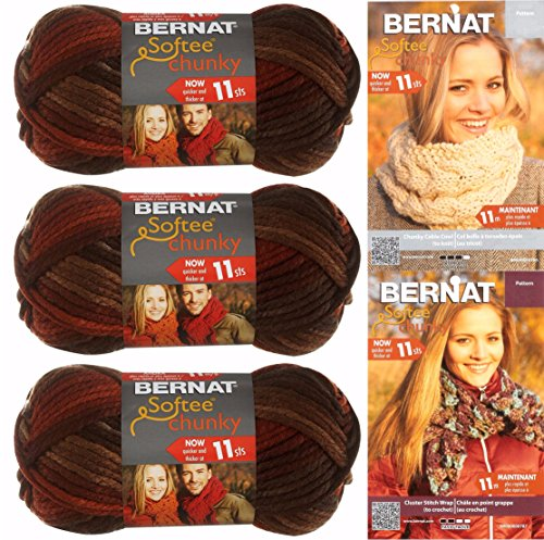 Bernat Softee Chunky Yarn Bundle Super Bulky 6, 3 Skeins, Terra Cotta Mist