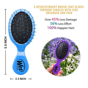 Wet Bush - Mini Travel Detangler - 3 Pack  (Pink, Purple, Blue) Squirt Detangler Hair Brush with Soft IntelliFlex Bristles