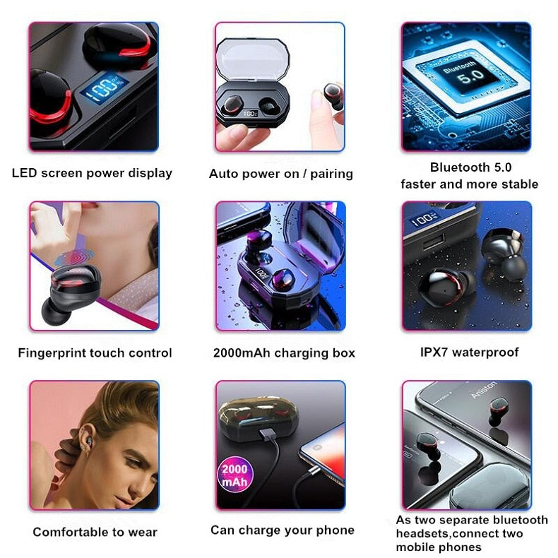 ECOUTEUR BLUETOOTH TWS Earphone IPX7 Waterproof Wireless Earbuds Bluetooth  5 0 Touch Control Headset Mini Twins Stereo Sports
