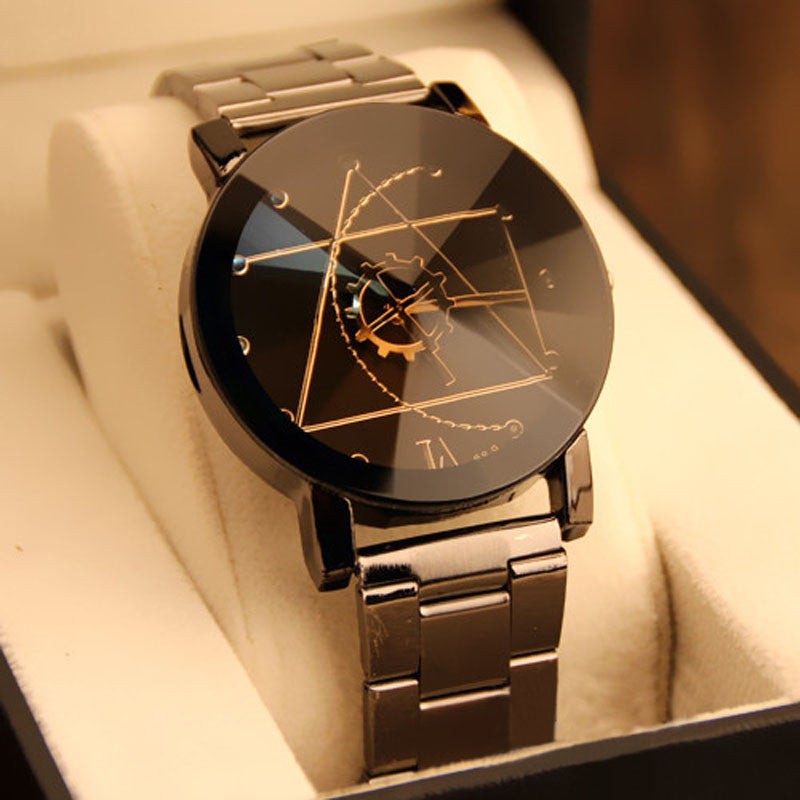 Trans Dial Black Wrist Watch