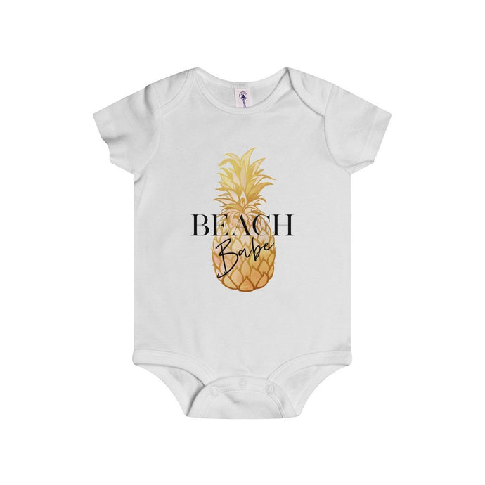 Beach Babe (Gold Pineapple)-White-Baby Onesies-TheFunBaby