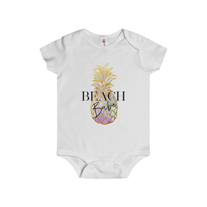 Beach Babe (Multi-Color Pineapple)-White-Baby Onesies-TheFunBaby