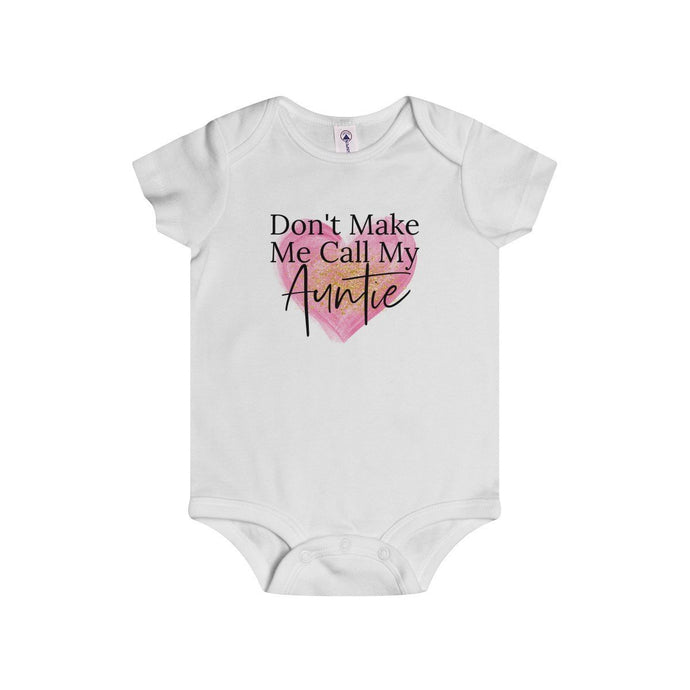 Don't Make Me Call My Auntie (Pink Heart)-White-Baby Onesies-TheFunBaby