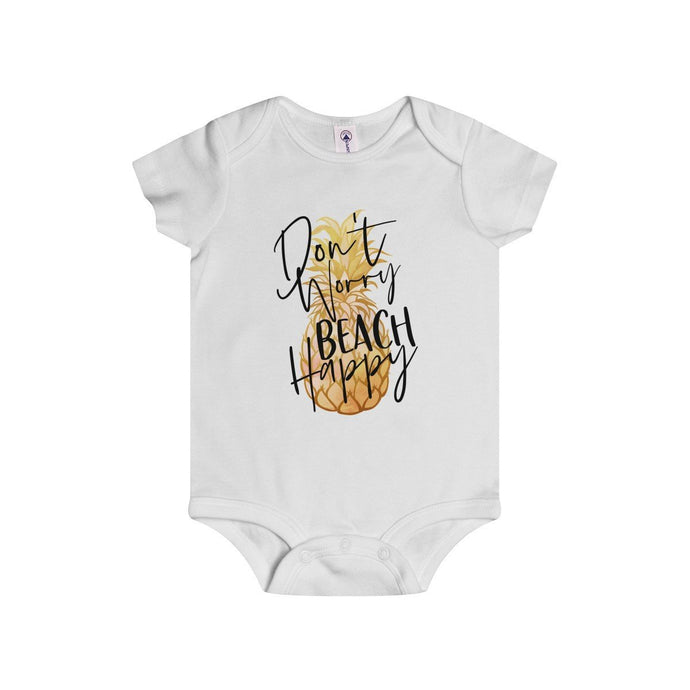 Don't Worry Beach Happy-White-Baby Onesies-TheFunBaby