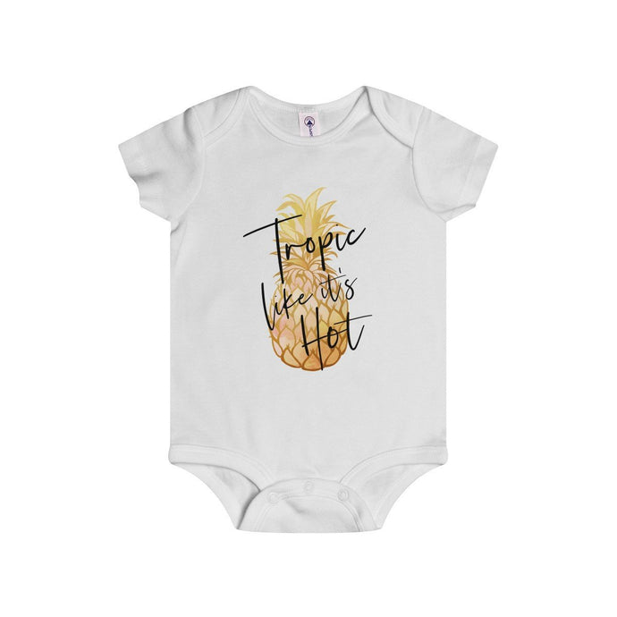 Tropic like it's Hot (Gold Pineapple)-White-Baby Onesies-TheFunBaby
