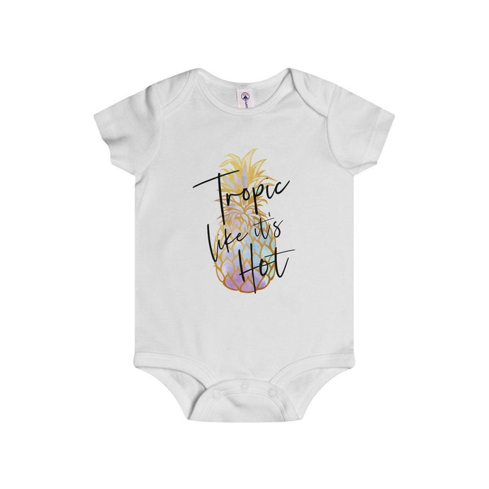 Tropic like it's Hot (Multi-Color Pineapple)-White-Baby Onesies-TheFunBaby