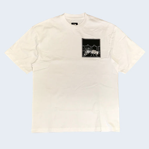 The Trilogy Tapes Fly T-Shirt White - Out Of Joint Records