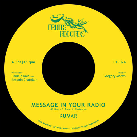 "Kumar - Message In Your Radio (7"" Vinyl) - Out Of Joint Records"