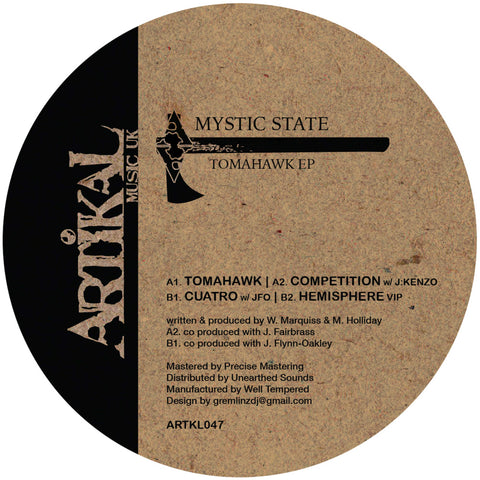 Mystic State - Tomahawk EP - Out Of Joint Records