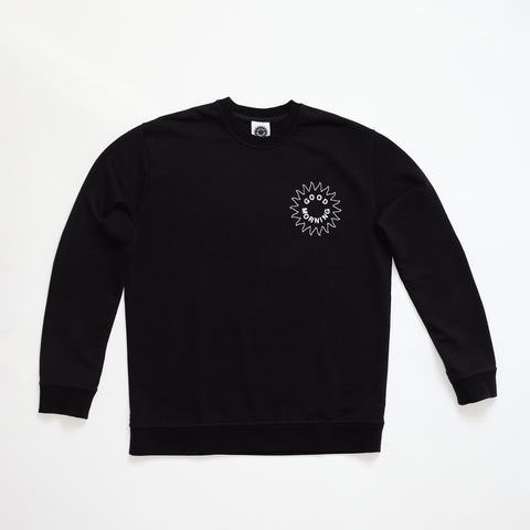 Good Morning Tapes Sun Logo Crewneck Sweater Black
