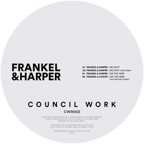 Frankel & Harper - Militant EP - Out Of Joint Records