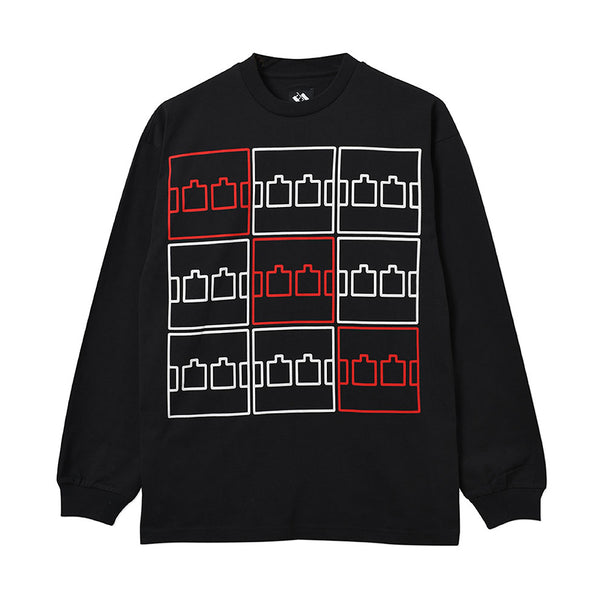The Trilogy Tapes Multi Logo Longsleeve Black - Out Of Joint Records