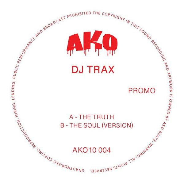 "AKO10 Series Presents: DJ Trax (Limited 10"" Red Vinyl) - Out Of Joint Records"