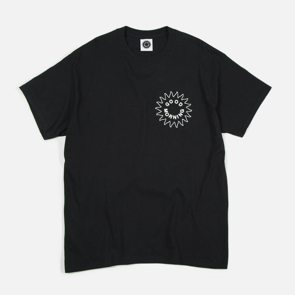 Good Morning Tapes Sun Logo SS Tee Black - Out Of Joint Records