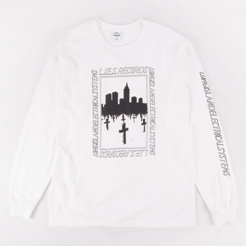 L.I.E.S. BQE GRAVE LONG SLEEVE TEE WHITE - Out Of Joint Records