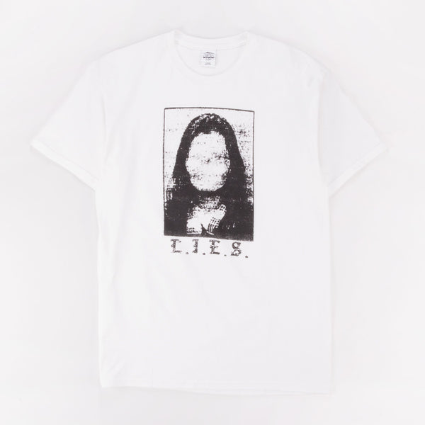 L.I.E.S. NO FACE TEE WHITE - Out Of Joint Records