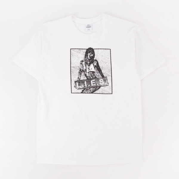 L.I.E.S. OVERDRIVE TEE WHITE - Out Of Joint Records