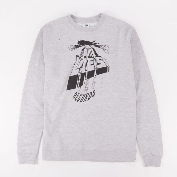 L.I.E.S. WARPED LOGO CREWNECK SWEATSHIRT GREY - Out Of Joint Records