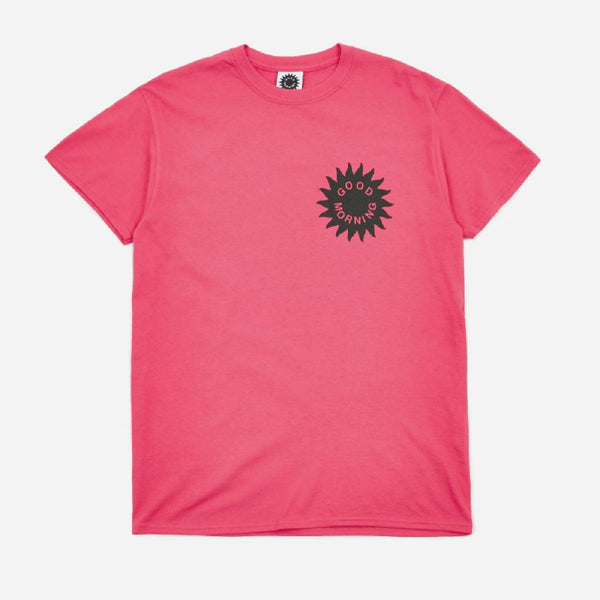 Good Morning Tapes Sun Logo SS Tee Hot Pink - Out Of Joint Records