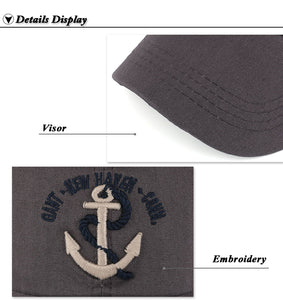 anchor logo view of baseball hat front brim design by anchor in waves